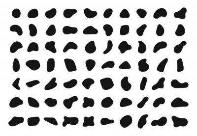 Obraz Random shapes. Black blobs, round abstract organic shape collection. Pebble, drops and stone silhouettes. Blotch, inkblot texture vector set. Rounded spot or speck of irregular form