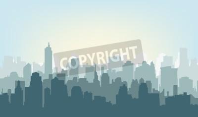 Obraz Rano sylweta miasta. Sylwetka miasta na wschodzie słońca