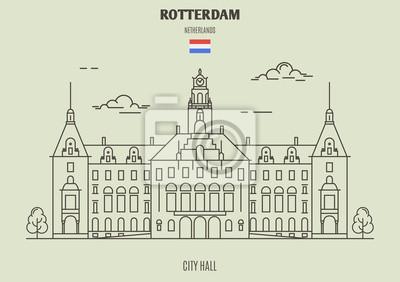 Ratusz w Rotterdamie, Holandia. Ikona punktu orientacyjnego