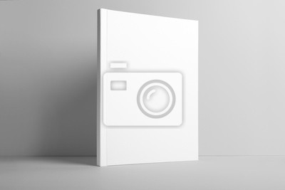 Obraz Real photo blank portrait A4, US-Letter, brochure magazine mockup isolated on gray background.
