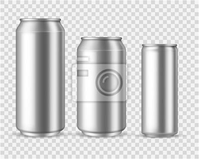 Obraz Realistic aluminum cans. Blank metallic can drink beer soda water juice packaging 300 330 500 empty mock up container vector template