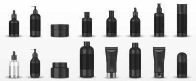 Obraz Realistic blank black cosmetic tubes isolated. Mockup cosmetic containers hand cream, shampoo, liquid soap pump, spray, oil, gel, lotion bottle. Vector