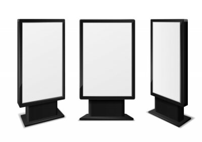Obraz Realistic light box. Blank billboards front and different angles view, information advertising signage, outdoor frame display, exhibition communication stand vector 3d isolated illustration