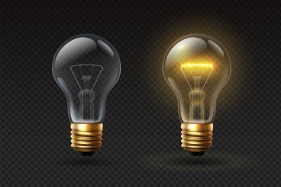 Obraz Realistic light bulb. On and off glass electric lightbulbs with filament. 3d lamp with glow effect. Creative or business idea vector concept