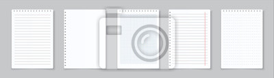 Obraz Realistic lined notepapers. Blank gridded notebook papers for homework and exercises. Vector pads paper sheets with lines and squares for memo