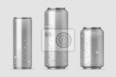 Obraz Realistic metal cans. Aluminum bear soda and lemonade cans with water drops, energy drink blank mockup. Vector isolated set canned beverages with water condensation on transparent background