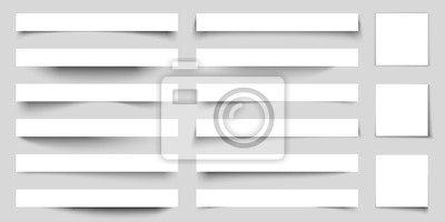 Obraz Realistic paper shadow effects. Web banners shadows with corners. Poster flyer set. Vector sticker with curved edges cast shadows on a gray background