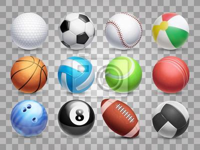 Obraz Realistic sports balls vector big set isolated on transparent background