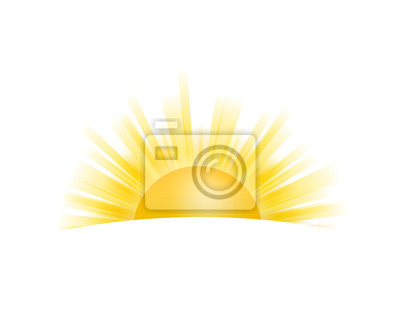 Obraz Realistic sun icon for weather design on white background. Vector stock illustration.