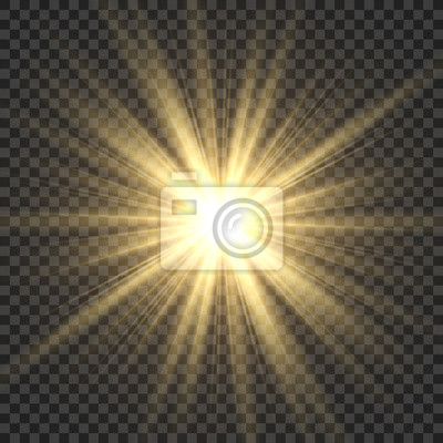 Obraz Realistic sun rays. Yellow sun ray glow abstract shine light effect starburst sbeam sunshine glowing isolated image