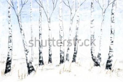 Obraz Ręcznie akwarela zimowy krajobraz. Ilustracja lasu, zimowe drzewa. Brzozowy