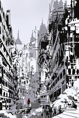 Obraz Ręcznie narysowany szkic człowiek stojący w opuszczonym mieście, ilustracji sztuki