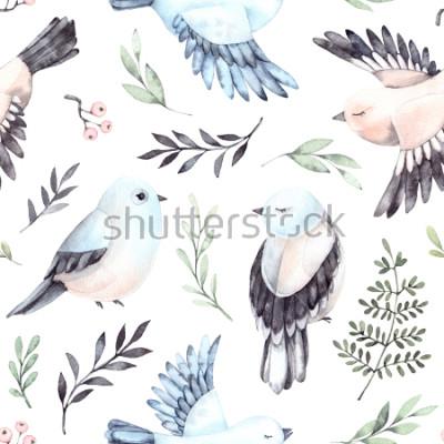 Obraz Ręcznie rysowane akwarela bezszwowe wzór. Tło z ślicznymi wiosennymi ptakami, paprociami i zielonymi gałąź. Idealny na papier do pakowania, tkaniny, pościel, zaproszenia, kartki okolicznościowe, wydru