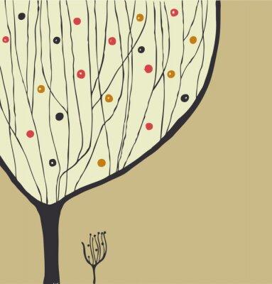 Obraz Ręcznie rysowane dekoracyjne drzewa. Drzewo sylwetka