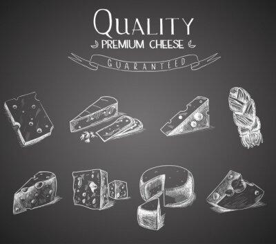 Obraz Ręcznie rysowane doodle szkic ser z różnych rodzajów serów