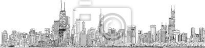 Obraz Ręcznie rysowane ilustracji. Panorama panoramę Chicago. Szczegółowy wygląd i styl atramentu. Czarny i biały.