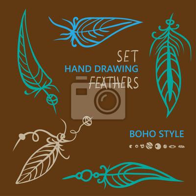 81de8c389ae6bd Obraz Ręcznie rysowane sylwetki stylu Boho piór na wymiar • album na ...