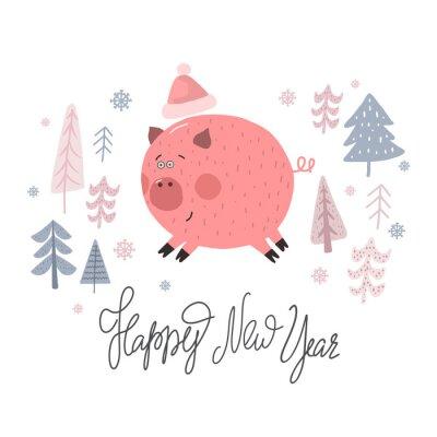 Ręcznie rysowane wydruku szczęśliwego nowego roku