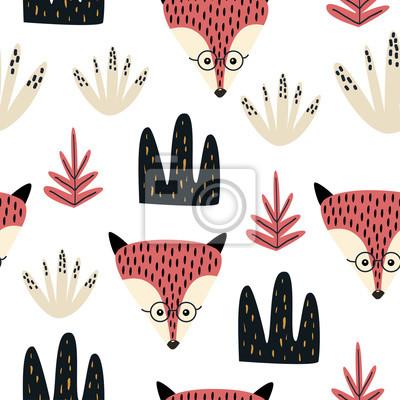 Ręcznie rysowane wzór z lisem
