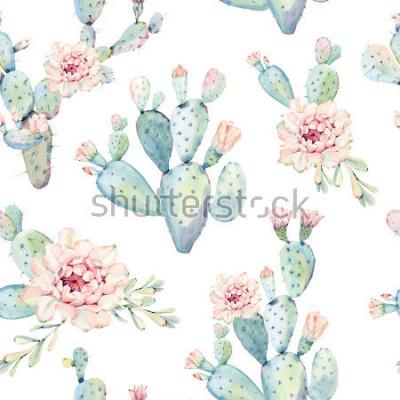 Obraz Ręcznie sporządzoną saguaro kaktus wzór. Jest idealny do drukowania tkanin, papieru cyfrowego, papieru do pakowania, tapet, tła.
