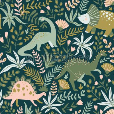 Obraz Ręcznie sporządzony wzór z dinozaurami i tropikalnych liści i kwiatów. Idealny dla dzieci tkanina, tkanina, tapety dziecięce. Ładny design dino. Ilustracji wektorowych.
