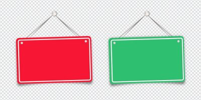 Obraz Red and green shop door signs hanging isolated on transparent background. Empty or blank sign for store, restaurant or cafe. Vector illustration. EPS 10