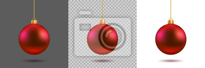 Obraz Red Christmas ball on gray, transparent and white background. New year toy decoration - stock vector