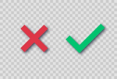 Obraz Red cross and a green tick. Vector illustration with realistic shadow on a transparent background. Symbol of choosing or voting. Right or wrong answer concept. Checkbox marks
