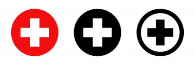 Obraz Red cross. Vector isolated icons. Medicine health hospital collection of signs symbol. Vector abstract graphic design. Emergency medicine concept. First aid. Health care.