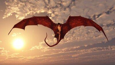Obraz Red Dragon Atakowanie z zachodem słońca niebo