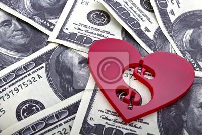 Red kształcie serca ze znakiem dolara