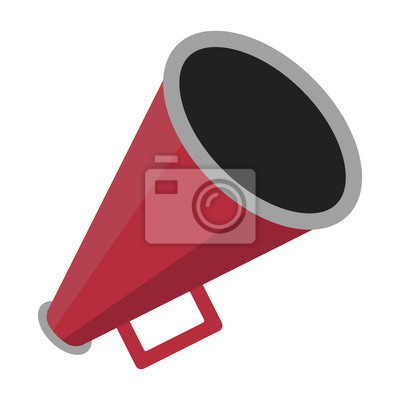 Obraz Red Megaphone Illustration - Red megaphone in flat design isolated on white background