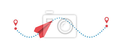 Obraz Red paper plane and its dotted path isolated on white background. Vector illustration.