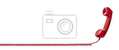 Obraz Red retro telephone handset isolated on white background
