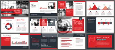 Obraz Red szablony prezentacji i elementy infografiki tle. Użyj do rocznego sprawozdania biznesowego, ulotki, marketingu korporacyjnego, ulotki, reklamy, broszury, nowoczesnego stylu.