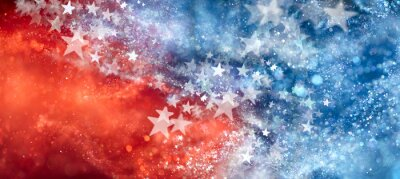Obraz Red, white, and blue abstract background with sparkling stars. USA background wallpaper for 4th of July, Memorial Day, Veteran's Day, or other patriotic celebration.