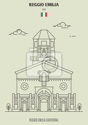 Reggio Emilia cathedral, Italy. Landmark icon