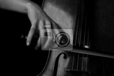 Obraz Ręka kobiety gry na wiolonczeli w czerni i bieli