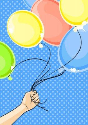 Obraz Ręka trzyma kilka balonów