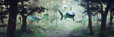 Obraz rekiny pływające w lesie, surrealistyczna scena z grupą rekinów latających w mglistym krajobrazie fantasy