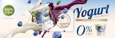 Obraz Reklamy z jogurtem