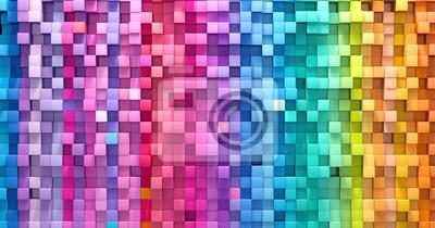 Obraz Renderingu 3D abstrakcjonistycznego tła sześcianów kolorowa ściana