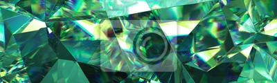 Obraz Renderowania 3D, abstrakcyjne tło zielony kryształ, fasetowana tekstura, makro szmaragdowy klejnot, panorama, szeroka panoramiczna tapeta wielokątna
