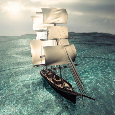 Obraz Renderowania 3D statek piracki