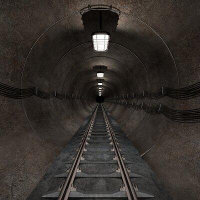 Obraz Renderowania 3D z podziemnego tunelu