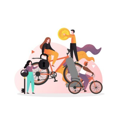 Rent bicycle vector concept for web banner, website page