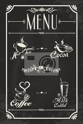 Restauracja menu drinków konstrukcja z tablicy tle. Ilustracja wektorowa stylu vintage. Gorąca herbata, kawa, kakao, mleko koktajl