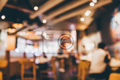 Obraz Restauracyjny kawiarni lub sklep z kawą wnętrze z ludźmi abstrakcjonistycznego plamy tła