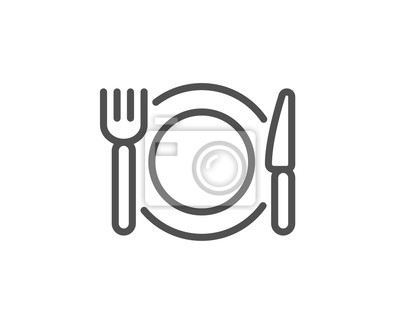 Obraz Restaurant food line icon. Dinner sign. Hotel service symbol. Quality design element. Linear style restaurant food icon. Editable stroke. Vector