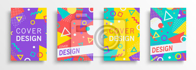 Obraz Retro abstract background design set in 80s style